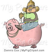 Swine Clipart of a Cowboy Farmer Man Riding a Big Pink Pig by Djart