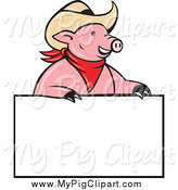 Swine Clipart of a Cowboy Pig Wearing a Hat over a Blank Sign by Patrimonio
