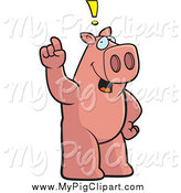 Swine Clipart of a Creative Pig Holding His Finger up with an Idea by Cory Thoman