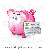 Swine Clipart of a Credit Card Resting Against a Pink Piggy Bank and Facing Left by Beboy