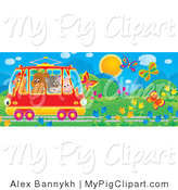 Swine Clipart of a Crowded Red Tram Car with a Chicken, Bear, Cat and Pig, Riding Through a Garden of Flowers and Butterflies by Alex Bannykh