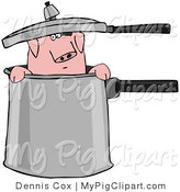 Swine Clipart of a Curious Pink Pig Peeking out of a Pot by Djart