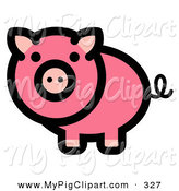 Swine Clipart of a Curly Tailed Pink Pig Looking Outwards on White by Andy Nortnik