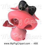 Swine Clipart of a Cute 3d Pig Character Looking Up, Waving and Wearing Shades by Julos
