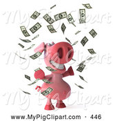 Swine Clipart of a Cute 3d Pig Character Surrounded by Money by Julos