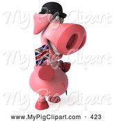 Swine Clipart of a Cute 3d Pig Character with a Union Jack Flag by Julos