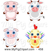 Swine Clipart of a Cute and Adorable Baby Piglet, Bull, Lamb and Rooster by Pushkin