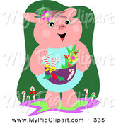 Swine Clipart of a Cute and Festive Christmas Pig with Flowers and Candy Canes by
