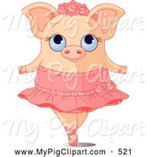 Swine Clipart of a Cute Ballerina Piggy on Her Tippy Toes by Pushkin