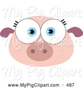 Swine Clipart of a Cute Big Eyed Pig Face by Qiun