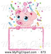 Swine Clipart of a Cute Birthday Piglet over a Sign by Pushkin