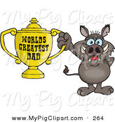 Swine Clipart of a Cute Boar Character Holding a Golden Worlds Greatest Dad Trophy by Dennis Holmes Designs