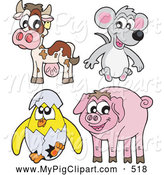 Swine Clipart of a Cute Collage of Baby Farm Animals; Cow, Mouse, Hatching Chick and Pig by Visekart