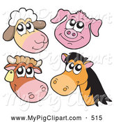 Swine Clipart of a Cute Digital Collage of Sheep, Pig, Cow and Horse Faces by Visekart