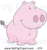 Swine Clipart of a Cute Faded Pig Smiling by Cory Thoman