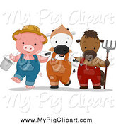 Swine Clipart of a Cute Farmer Pig Cow and Horse with a Bucket and Rake by BNP Design Studio