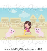 Swine Clipart of a Cute Girl Pouring Food in a Box for Pigs by Mayawizard101