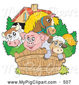 Swine Clipart of a Cute Group of Animals; Horse, Bull, Pig and Sheep Looking over a Wooden Farm Fence by Visekart