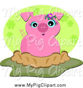 Swine Clipart of a Cute Happy Pig in Mud by