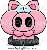 Swine Clipart of a Cute Happy Pink Piglet by Cory Thoman