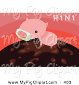 Swine Clipart of a Cute Little H1N1 Pig Wearing a Mask and Standing in Mud over Pink by Mayawizard101