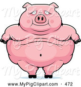 Swine Clipart of a Cute Obese Pig Standing by Cory Thoman
