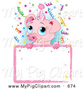Swine Clipart of a Cute Pig over a Birthday Party Sign - Cartoon Style by Pushkin
