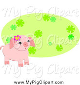 Swine Clipart of a Cute Pig Wearing a Flower by a Green Oval by Bpearth