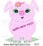 Swine Clipart of a Cute Pig with Happy New Year Text by Bpearth