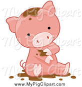 Swine Clipart of a Cute Piglet Bathing in Mud by BNP Design Studio