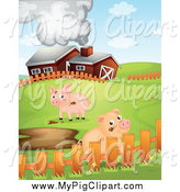 Swine Clipart of a Cute Pigs with Mud Puddles by a Barn by Graphics RF