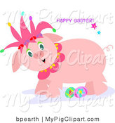 Swine Clipart of a Cute Pink Jester Pig with Easter Eggs on a Holiday Greeting by Bpearth