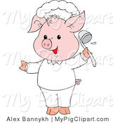 Swine Clipart of a Cute Pink Pig Chef Holding a Ladle and Smiling by Alex Bannykh