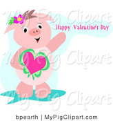 Swine Clipart of a Cute Pink Pig Holding a Heart on a Valentine's Day Greeting by