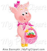 Swine Clipart of a Cute Pink Pig Standing on Its Hind Legs, Carrying a Basket of Apples by Alex Bannykh