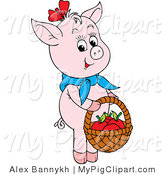 Swine Clipart of a Cute Pink Pig Wearing a Knotted Blue Scarf, Carrying Apples in a Basket by Alex Bannykh