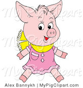 Swine Clipart of a Cute Pink Pig Wearing a Pink Dress and Yellow Scarf Around His Neck by Alex Bannykh