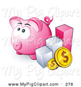 Swine Clipart of a Cute Pink Piggy Bank by a Bar Graph and Coins by Beboy