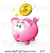 Swine Clipart of a Cute Pink Piggy Bank Looking up at a Dollar Coin by Beboy