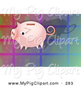 Swine Clipart of a Cute Pink Piggy Bank on a Colorful Tile Background by Prawny