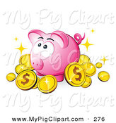 Swine Clipart of a Cute Pink Piggy Bank Surrounded by Dollar Coins by Beboy