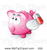 Swine Clipart of a Cute Pink Piggy Bank with a Pill and Capsule by Beboy