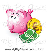 Swine Clipart of a Cute Pink Piggy Bank with Cash and a Euro Coin by Beboy