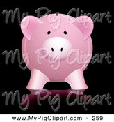 Swine Clipart of a Cute Pink Piggy Bank with Reflection Against Black Background by Michaeltravers
