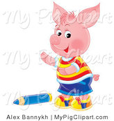Swine Clipart of a Cute Pink Piglet Boy in Clothes, Standing by a Large Blue Colored Pencil by Alex Bannykh