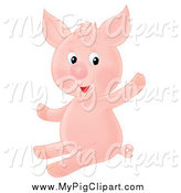 Swine Clipart of a Cute Sitting and Waving Piglet by Alex Bannykh