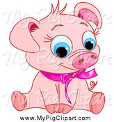 Swine Clipart of a Cute Sitting Piglet Wearing a Pink Ribbon by Pushkin