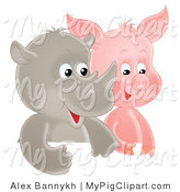 Swine Clipart of a Cute Smiling Baby Rhino and Piglet Side by Side by Alex Bannykh