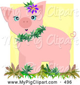 Swine Clipart of a Cute Tropical Pig Wearing Leaves and a Flower by Bpearth