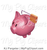 Swine Clipart of a Dark Pink Piggy Bank with a Padlock Securing the Slot by KJ Pargeter